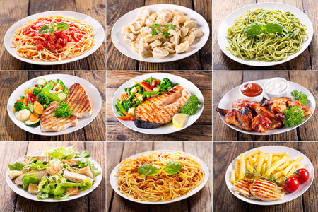 Photo pour collage of various plates of meat, fish and chicken on wooden table - image libre de droit