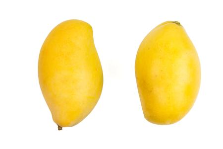 Mango fruit isolated white background, design element of yellow mango fruit