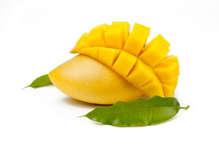 Mango fruit and leaf isolated white background. Mango juice, ice cream and shake and smoothie drink concept.