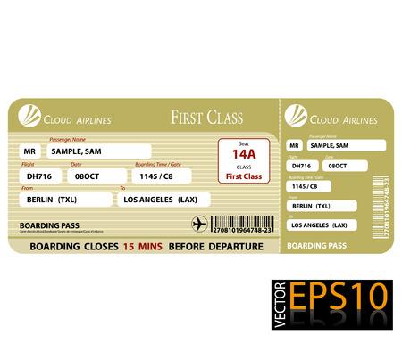 Illustration pour Boarding Pass First Class - image libre de droit