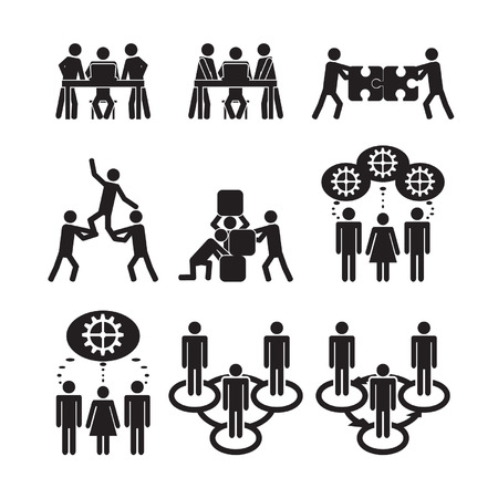 Illustration for Teamwork icons set - Royalty Free Image