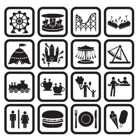 Illustration pour Amusement park or fanfare park icons set - image libre de droit