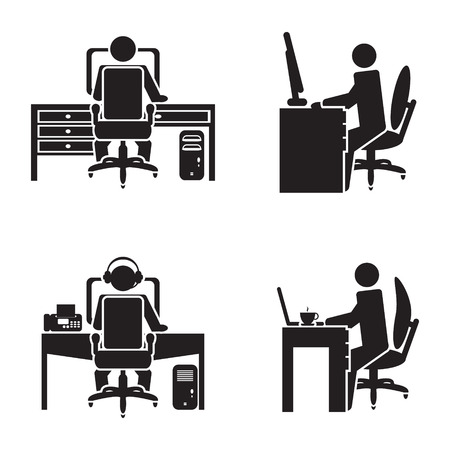 Illustration pour Person working on a computer vector illustration - image libre de droit