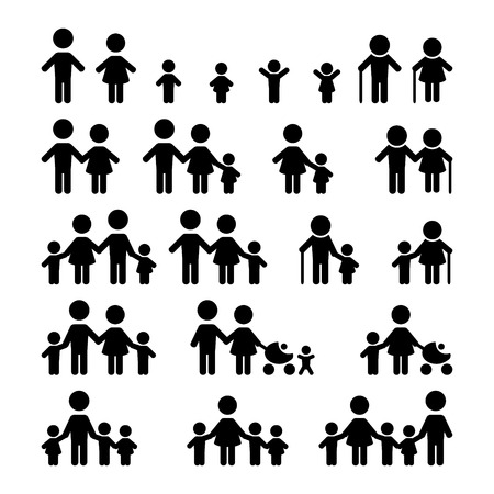Illustration pour Family icons set - image libre de droit