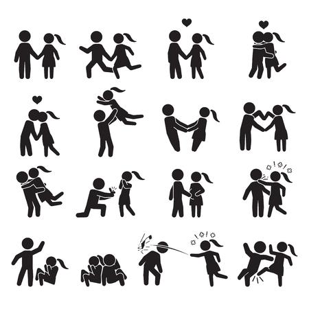 Illustration pour Love and couple icon set. Vector. - image libre de droit