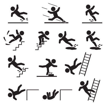 Ilustración de People falling or slipping icon set. Vector. - Imagen libre de derechos