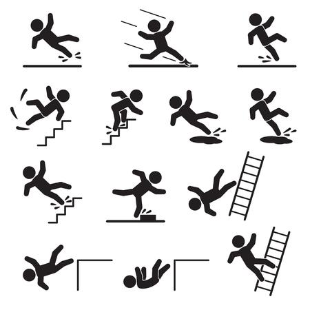 Illustration pour People falling or slipping icon set. Vector. - image libre de droit