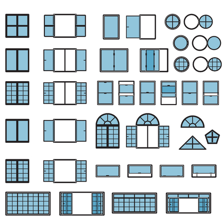 Illustration for Windows icon set. Window types set. Vector. - Royalty Free Image