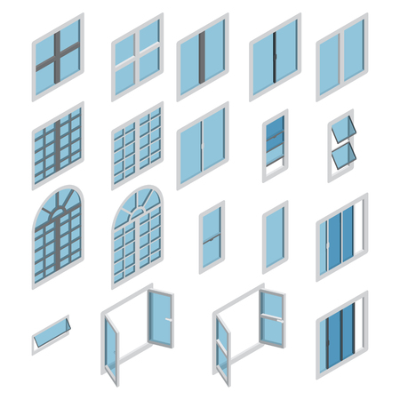 Ilustración de Windows isometric icon vector set. Isometric window set. Vector. - Imagen libre de derechos