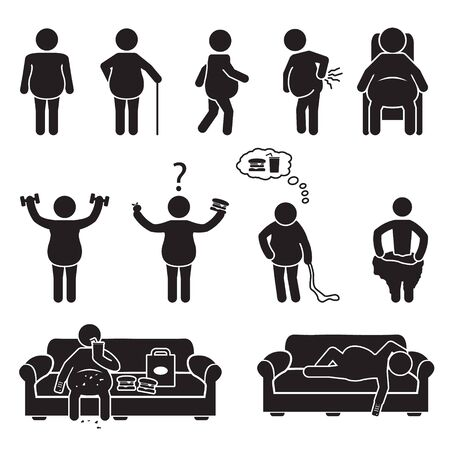 Illustrazione per Fat and obese people icons set. Vector. - Immagini Royalty Free