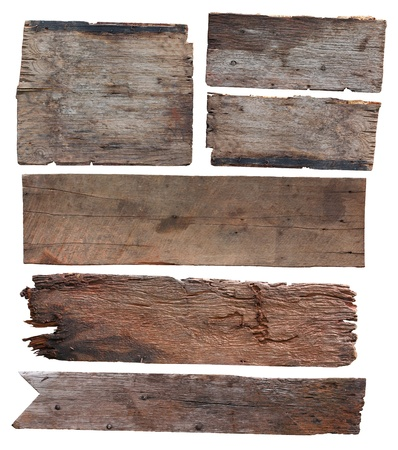 Photo for Old plank of wood isolated on white background (Save Paths For design work)  - Royalty Free Image