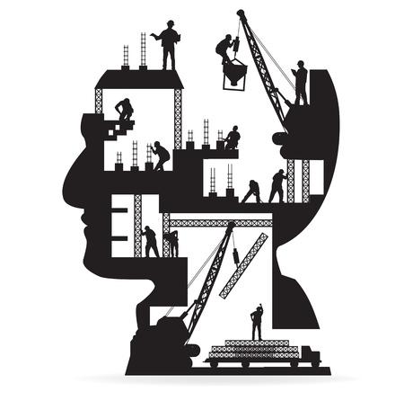 Foto de Building under construction with workers in sIlhouette of a head, Vector illustration template design - Imagen libre de derechos