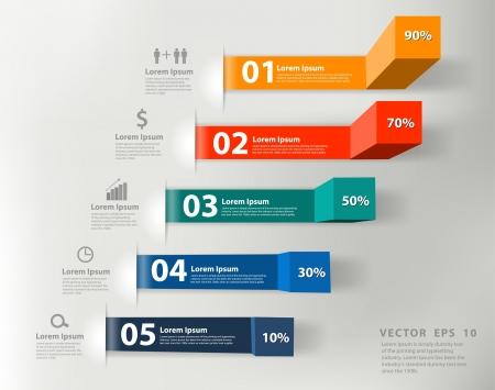 Illustration pour Modern business steps to success charts and graphs options banner  - image libre de droit