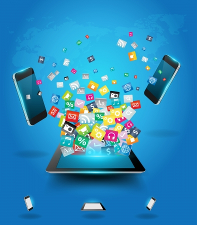 Ilustración de Creative tablet computer with mobile phones cloud of colorful application icon, Business software and social media networking online store service concept, Vector illustration modern template design - Imagen libre de derechos