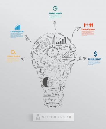 Ilustración de Creative light bulb with element drawing business success strategy plan concept idea, Vector illustration modern template Design   - Imagen libre de derechos