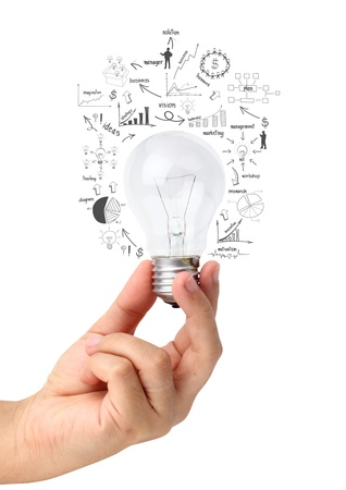 Foto de Creative light bulb in hand with drawing charts and graphs, isolated on white background - Imagen libre de derechos