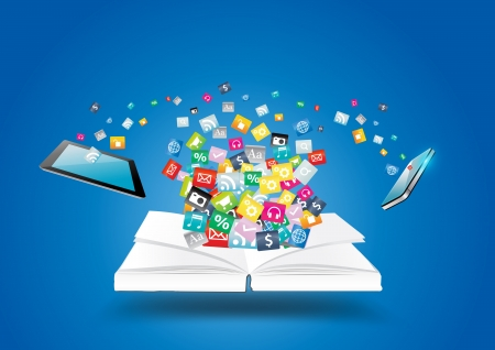 Illustration pour Book with mobile phones and tablet computer PC, With cloud of colorful application icon business software and social media networking idea concept, illustration modern template design - image libre de droit