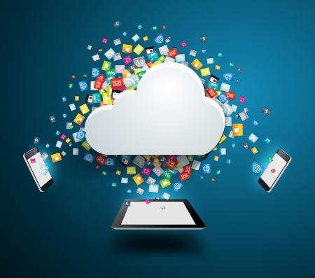 Illustration pour Cloud computing concept, With colorful application icon business software and social media networking service idea concept, illustration modern template design - image libre de droit