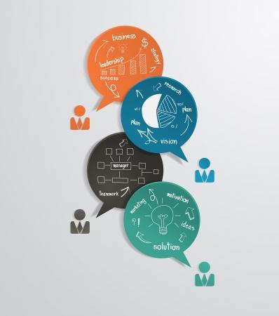 Ilustración de Modern business bubble speech template with drawing business strategy plan concept idea, workflow layout, diagram, step up options, web banner template, illustration modern template design - Imagen libre de derechos