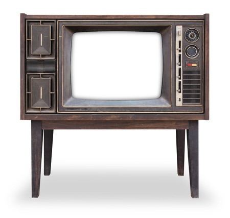 Photo pour Vintage television isolated with clipping path - image libre de droit