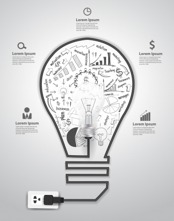 Illustration pour Creative light bulb with drawing charts and graphs business success strategy plan concept idea, Vector illustration modern template design  - image libre de droit