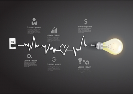 Ilustración de Creative light bulb abstract infographic modern design template workflow layout, diagram, step up options - Imagen libre de derechos