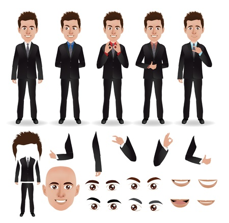 Ilustración de Vector business man with parts of the body template for design work - Imagen libre de derechos