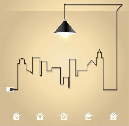Illustration pour Vector cityscape with creative wire light bulb idea concept - image libre de droit