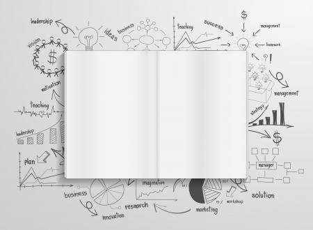 Illustration pour Book with drawing charts and graphs success business strategy plan concept idea - image libre de droit