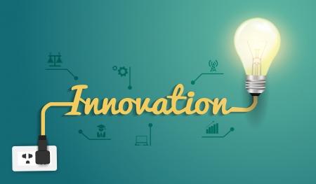 Illustration pour Innovation concept with creative light bulb idea, Vector illustration modern design template   - image libre de droit