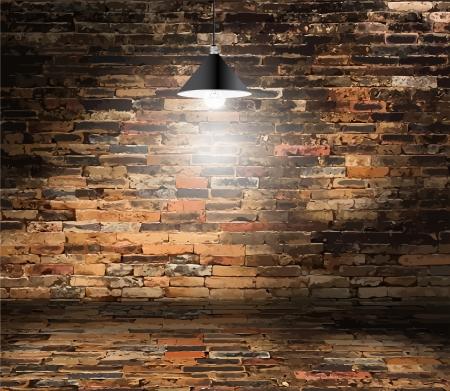 Ilustración de Brick wall room and ceiling lamp, Grunge retro vintage interior, Vector background - Imagen libre de derechos