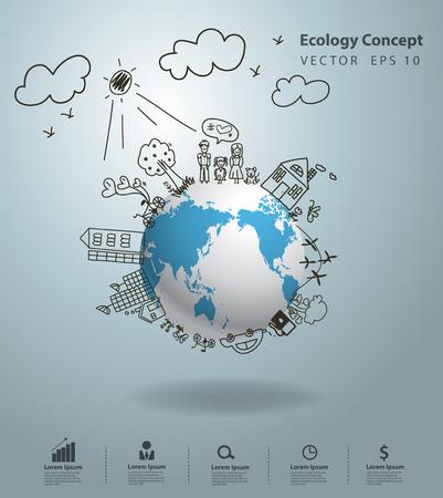 Ilustración de Ecology concept, Creative drawing on global environment with happy family stories concept idea - Imagen libre de derechos