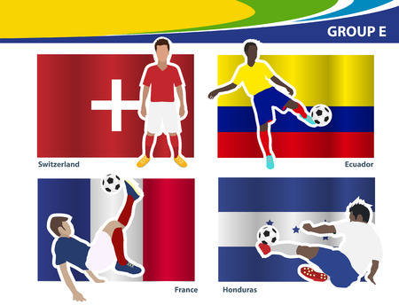 Soccer football players, Brazil 2014 group E Vector illustration