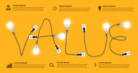 Ilustración de Value concept modern design template, Creative light bulb idea abstract info graphic banner workflow layout, diagram, step up options, Vector illustration - Imagen libre de derechos