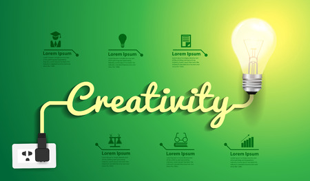 Illustrazione per Creativity concept modern design template, Light bulb idea abstract infographic workflow layout, diagram, step up options, Vector illustration - Immagini Royalty Free