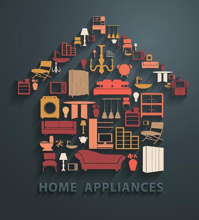 Ilustración de Flat design concepts home appliances icons, Vector illustration modern template design - Imagen libre de derechos