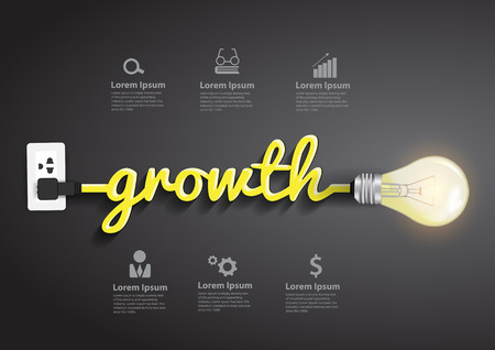 Ilustración de Growth concept, Creative light bulb idea abstract infographic layout, diagram, step up options, Vector illustration modern design template - Imagen libre de derechos
