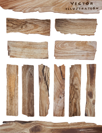 Illustration pour Old Wood plank isolated on white background, vector illustration - image libre de droit