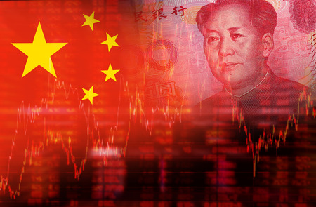 Foto de Flag of China with face of Mao Zedong on RMB Yuan 100 bill. Downtrend stock diagram - Imagen libre de derechos