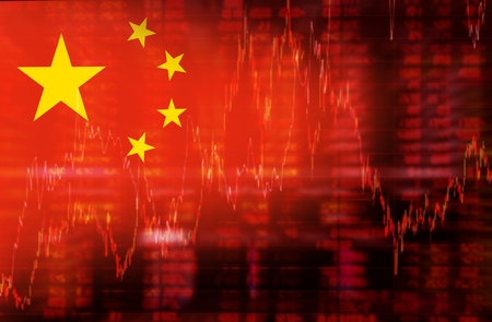 Photo for Flag of China. Downtrend stock data diagram - Royalty Free Image