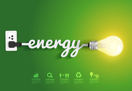 Ilustración de Energy saving and simple light bulbs.Green background vector illustration template design - Imagen libre de derechos