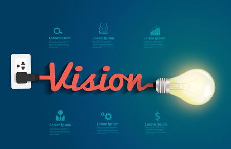 Illustration pour Vision concept with creative light bulb idea, Vector illustration modern design template - image libre de droit