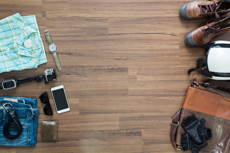 Photo for hipster clothes and accessories on a wooden background, View from above with copy workspace - Royalty Free Image