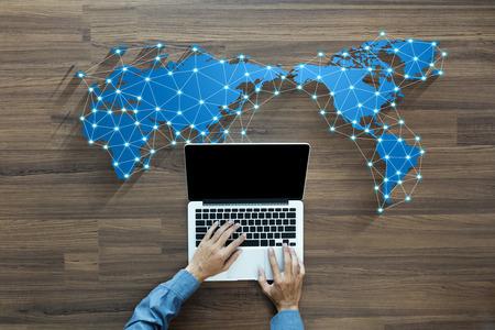 Photo pour Business person working on computer social media network concept innovation technology background - image libre de droit