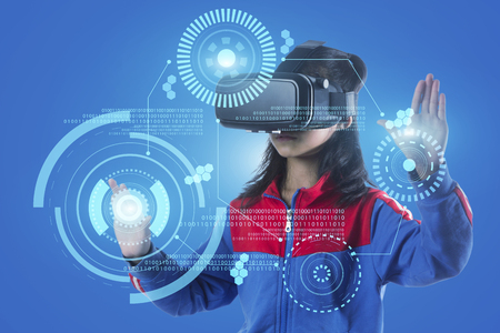Photo pour Girl with glasses of virtual reality. Future technology concept. - image libre de droit