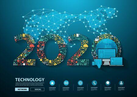 Ilustración de 2020 new year business innovation technology set application icons digital marketing ideas concept - Imagen libre de derechos