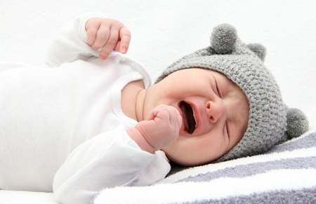 Photo for little baby crying on bed - Royalty Free Image