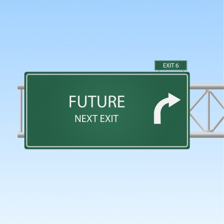 Image of a highway exit sign to FUTURE.