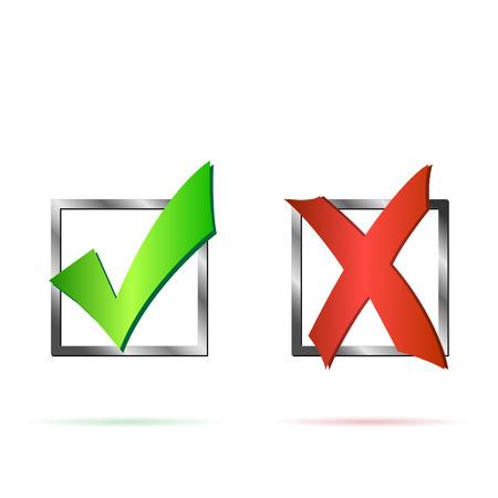 Ilustración de Illustration of a red X and green check mark isolated on a white background. - Imagen libre de derechos