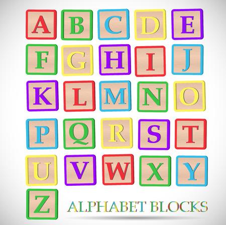 Ilustración de Illustration of coloful alphabet blocks isolated on a white background. - Imagen libre de derechos